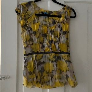 Yellow printed 100% silk blouse